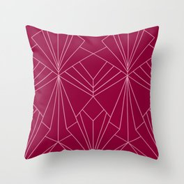 Art Deco in Raspberry Pink - Large Scale Throw Pillow