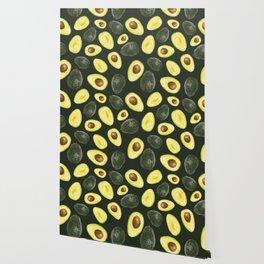 Avocados on a Dark Green Background Wallpaper