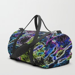 psychedelic rotten sketching texture abstract background in blue yellow pink Duffle Bag