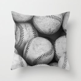 Baseballs Black & White Graphic Illustration Design Throw Pillow