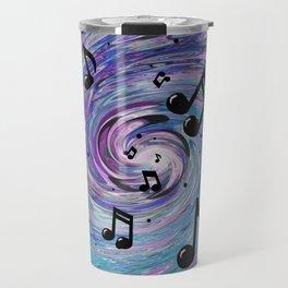 Musical Notes in Blue Travel Mug