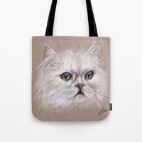 persian Tote Bags featuring Persian cat by Pendientera