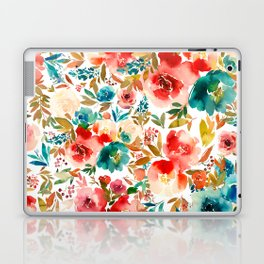 Red Turquoise Teal Floral Watercolor Laptop & iPad Skin