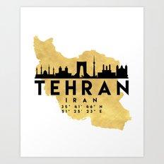 TEHRAN IRAN SILHOUETTE SKYLINE MAP ART Art Print