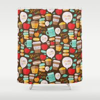 macaroon Shower Curtains featuring yum yum by Anna Alekseeva kostolom3000