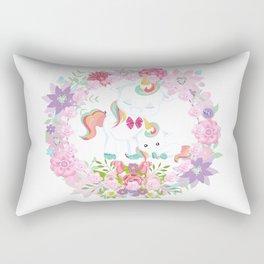 Flowers Hearts and Unicorns Rectangular Pillow
