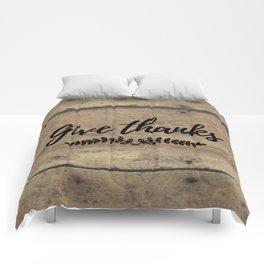 Give Thanks on Barnwood Comforters