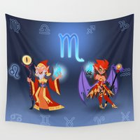 scorpio Wall Tapestries featuring Scorpio Warlocks by The Art of Eileen Marie