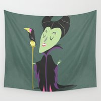 maleficent Wall Tapestries featuring Maleficent by Rod Perich