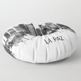 La Paz Bolivia Skyline BW Floor Pillow