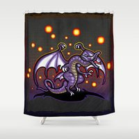 final fantasy Shower Curtains featuring Final Fantasy Bahamut by likelikes