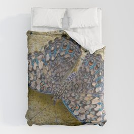 Turquoise and Sand Butterfly by Teresa Thompson Duvet Cover