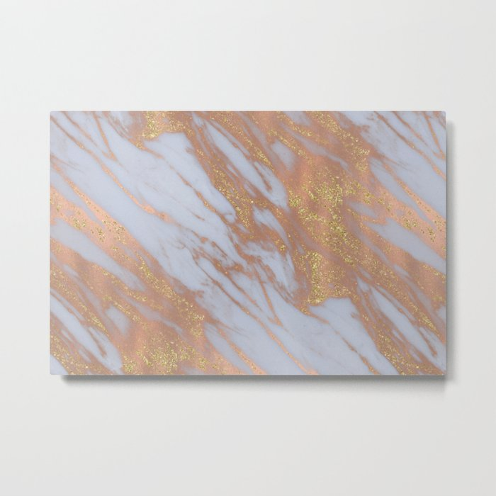 Marble - Rose Gold Marble with Yellow Gold Glitter Metal Print
