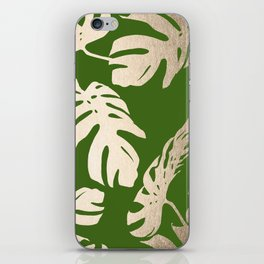 Palm Leaves White Gold Sands on Jungle Green iPhone Skin