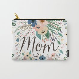 Mom typography with flowers Carry-All Pouch