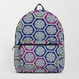 Hexagonal Dreams - Purple Blue Green Backpack