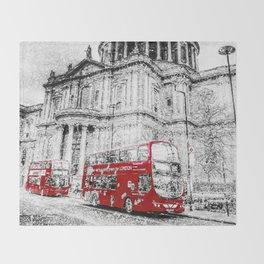 St Paul's Cathedral London Snow Throw Blanket