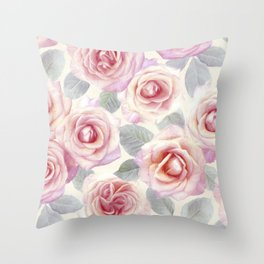 Mauve and Cream Painted Roses Throw Pillow