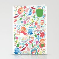 ponyo Stationery Cards featuring Ponyo Pattern - Studio Ghibli by Teacuppiranha