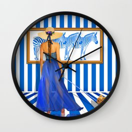 Series: Woman Quartet, No.2 in blue and white Wall Clock
