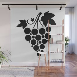 Silhouette of grapes with leaves  Wall Mural
