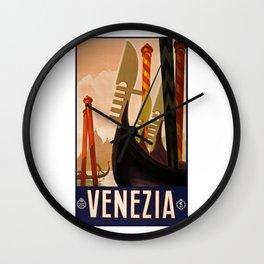 Venice, Italy, Venezia, travel vintage poster Wall Clock