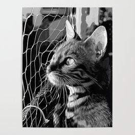 bengal cat yearns for freedom vector art black white Poster