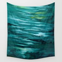 turquoise Wall Tapestries featuring Turquoise  by Mich Li