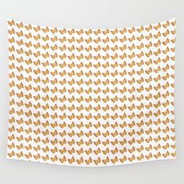 Elegant little orange and yellow butterflies pattern on a white background Wall Tapestry