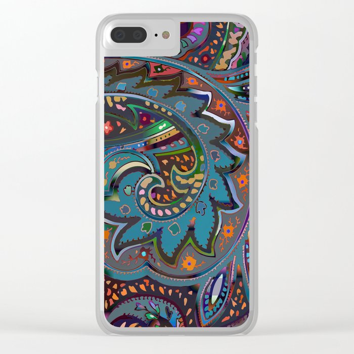 Magic Paisley Pattern Clear iPhone Case