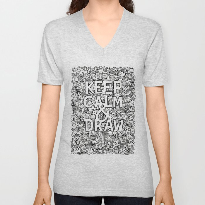 Keep Calm and Draw Unisex V-Neck
