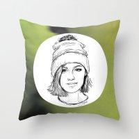 jenna kutcher Throw Pillows featuring JENNA. by paintparamore