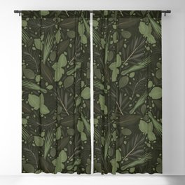 Green Herbs Spices / Olive Green Palette Blackout Curtain