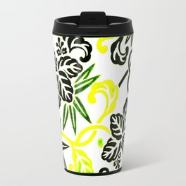 Green & Yellow Japanese Leaf Pattern Travel Mug