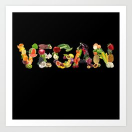 VEGAN FRUITS AND VEGGIES Art Print