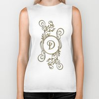 monogram Biker Tanks featuring Monogram D by Britta Glodde