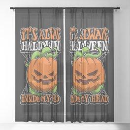 It's Always Halloween Inside My Head Sheer Curtain
