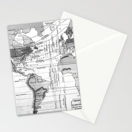 Black and White World Map (1823) Stationery Cards
