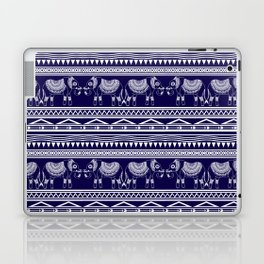 White and Navy Blue Elephant Pattern Laptop & iPad Skin