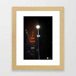 Rain At The Empire State Framed Art Print