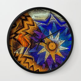 Tribal Sun Abstract Wall Clock