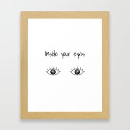 Black and White Galaxy inside eyes with text above Framed Art Print