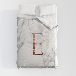 Monogram rose gold marble E Comforters