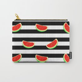 Watermelon pattern, black stripes, summer texture Carry-All Pouch