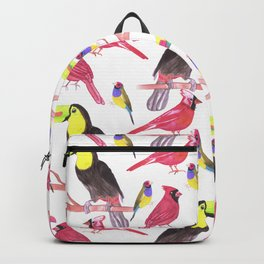 Toucans, cardinals and gouldian finch in tetrad color scheme Backpack