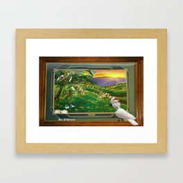 """Springtime Grazing in Napa Valley 24"""" x 36"""" oil over clay with illustrations of our rescued parrots Framed Art Print"""