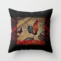 rooster Throw Pillows featuring Rooster by Justin Alan Casey