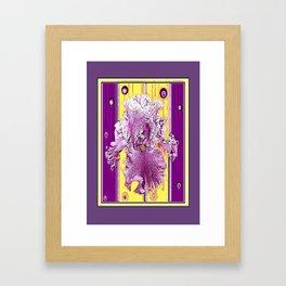Pink Iris Puce Purple-Yellow Art Deco Style Abstract Framed Art Print