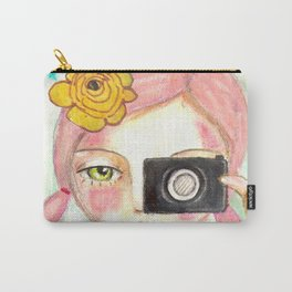 Smile ! girl with photo camera Carry-All Pouch