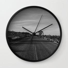 Monochrome Joshua Tree Road Wall Clock